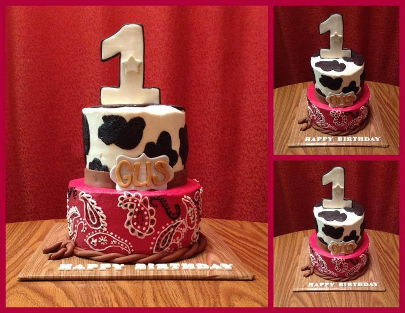 Cowboy Themed First Birthday Cake